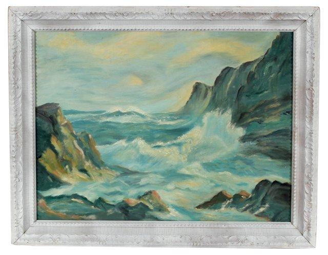 Midcentury Coastal Scene Oil