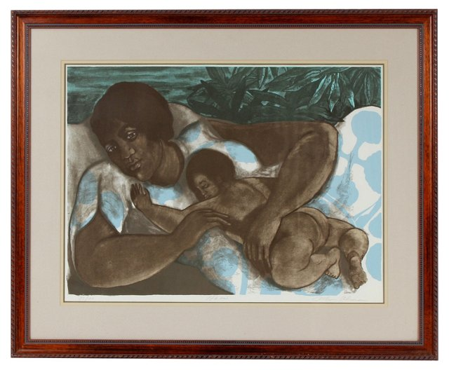 Midcentury Mother & Child Lithograph
