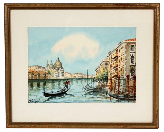 Midcentury Watercolor Venetian Scene