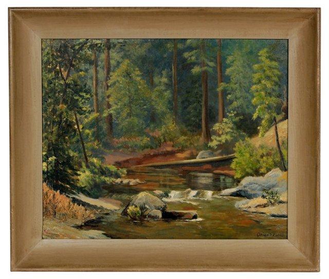 1954 Rustic Oil River Scene
