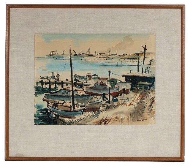 1944 Watercolor Boat & Dock Scene