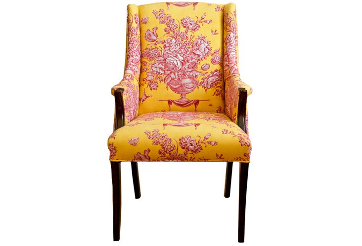 Vintage Chinoiserie Wingback Chair