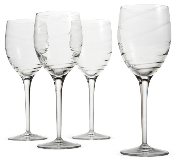 S/4 Swirl Optic Wineglasses