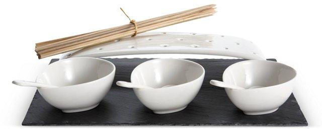 8-Pc Slate & Porcelain Serving Set