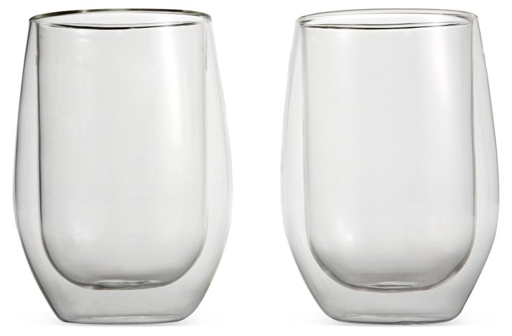 S/2 Double-Wall Red-Wine Glasses