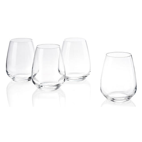 S/6 Plaza Stemless White-Wine Glasses