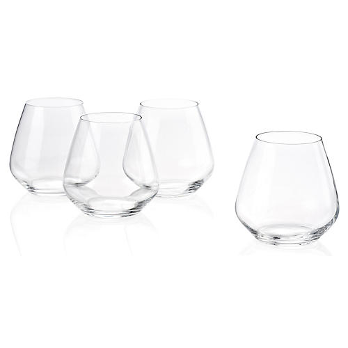 S/6 Plaza Stemless Pinot Noir Glasses