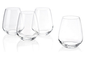 S/6 Stemless Merlot Wineglasses