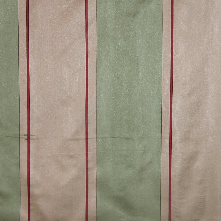 Caribu Stripe Silk Fabric, Green