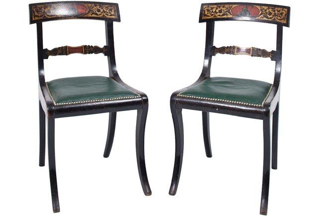 Regency Painted Chairs, Pair