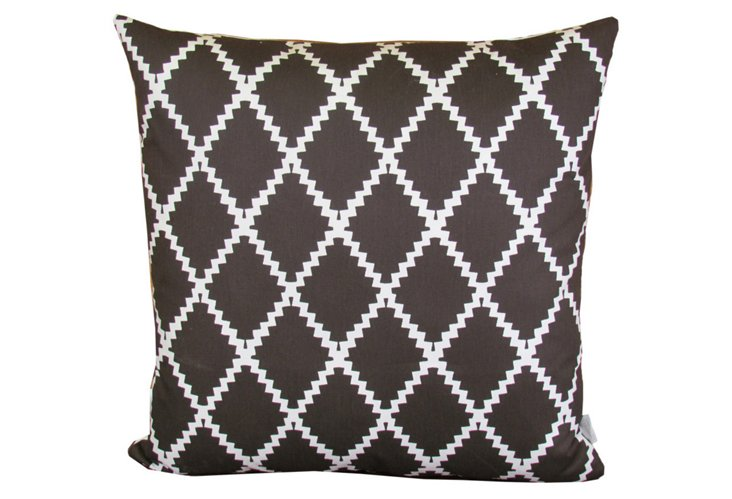 Ric Rac 20x20 Pillow, Brown/White