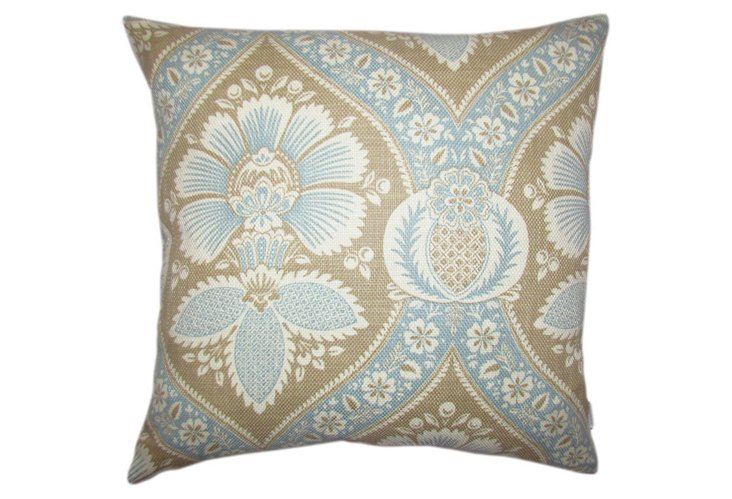 Medallion Damask 20x20 Pillow, Sky Blue