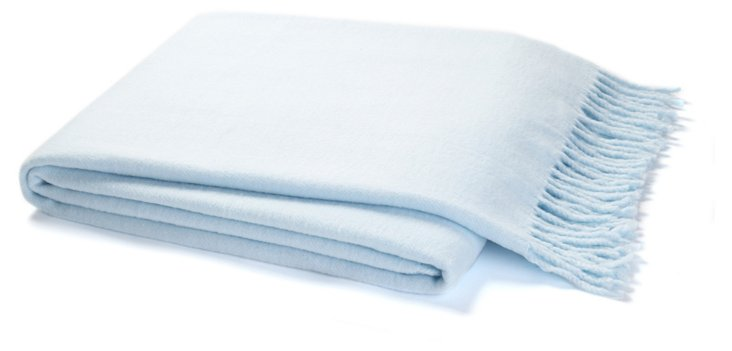 Assiro Solid Cotton-Blended Throw, Sky
