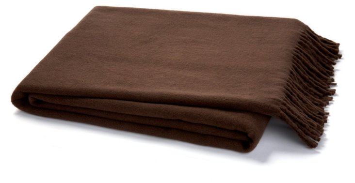 Solid Cotton-Blend Throw, Chocolate