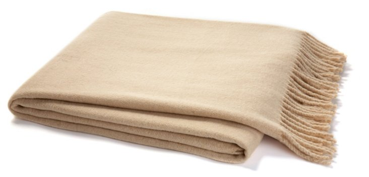 Solid Cotton-Blended Throw, Latte