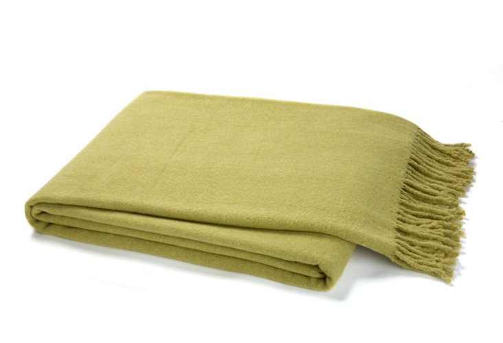 Solid Cotton-Blended Throw, Green