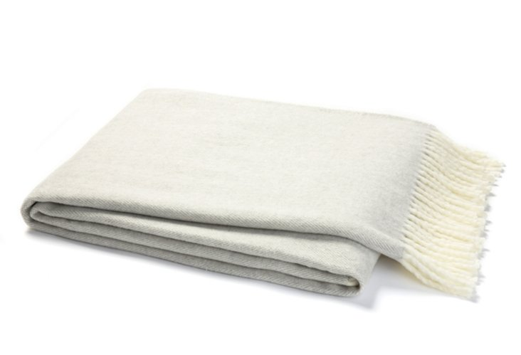 Herringbone Cotton-Blended Throw, Gray