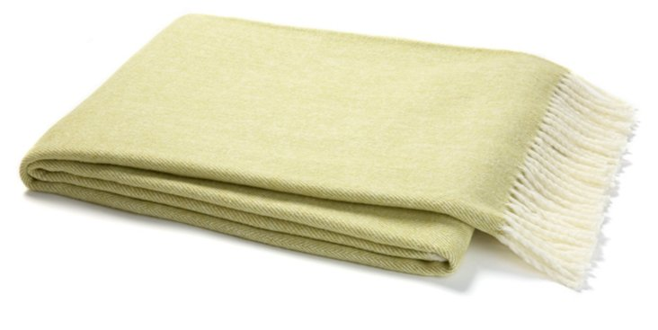 Herringbone Cotton-Blended Throw, Green