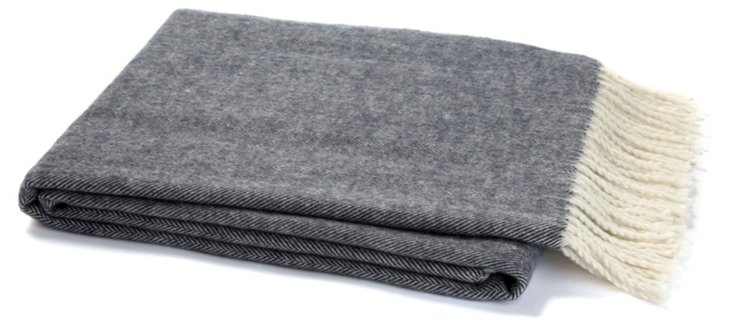 Herringbone Cotton-Blended Throw, Navy
