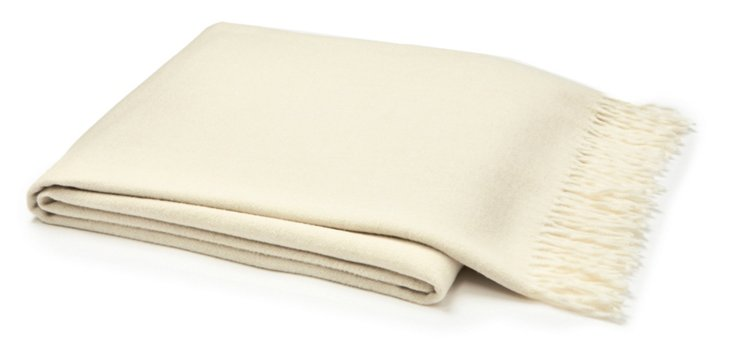 Capri Cotton-Blended Throw, Cream