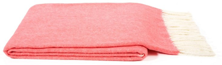 Herringbone Cotton-Blended Throw, Coral