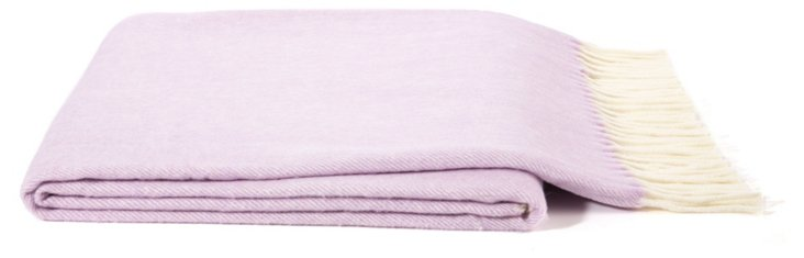 Herringbone Cotton-Blended Throw, Lilac