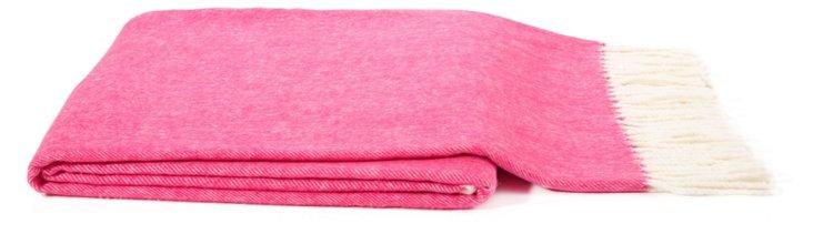 Herringbone Cotton-Blended Throw, Pink