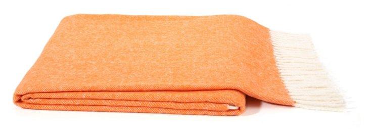 Herringbone Cotton-Blended Throw, Orange
