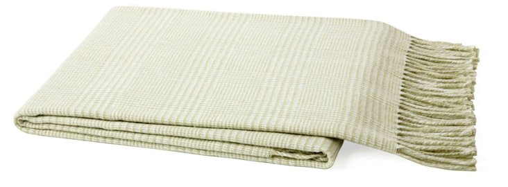 Plaid Cotton-Blend Throw, Sage