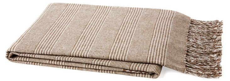 Plaid Cotton-Blend Throw, Cappuccino