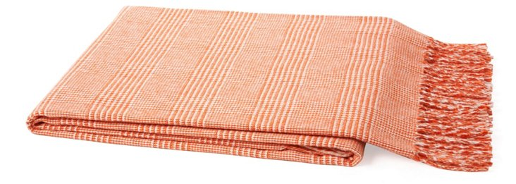 Plaid Cotton-Blended Throw, Persimmon
