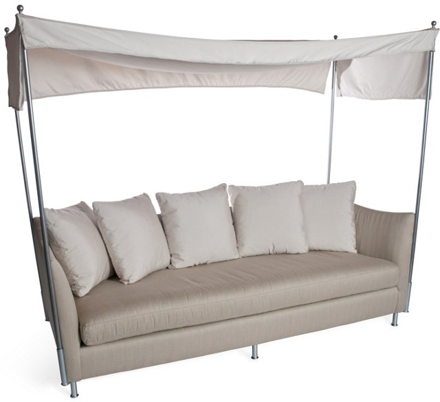Outdoor Upholstered Sofa w/ Canopy