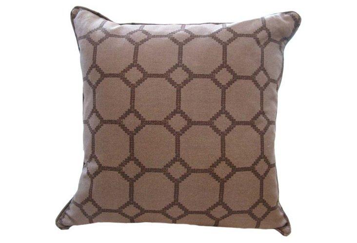 Brown Mosaic Grid Pillow
