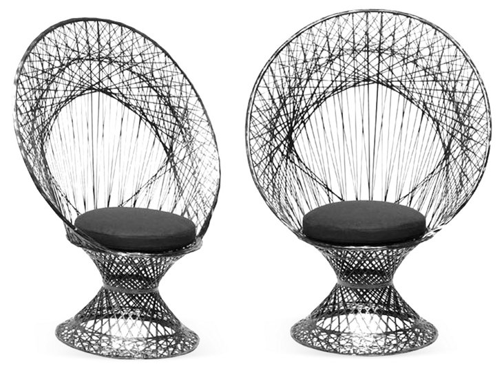 Black Fan Chairs, Pair