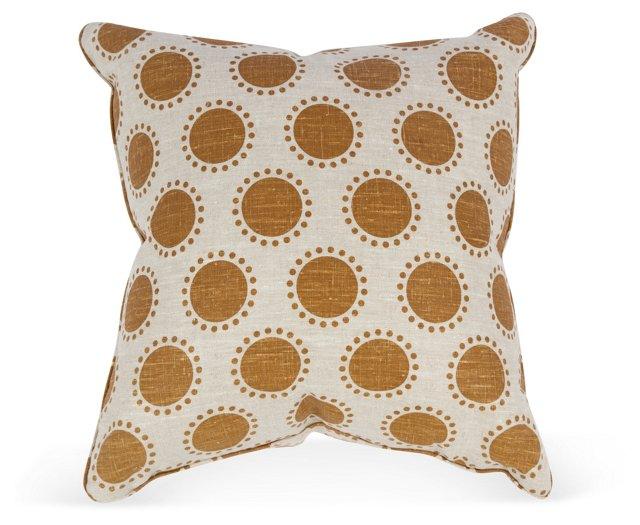 Caramel Dot Linen Pillow