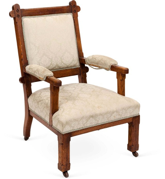 English Oak Armchair, C. 1900