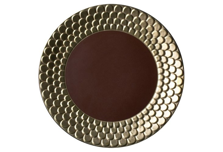 Dinner Plate w/ 24-Kt Gold, Brown