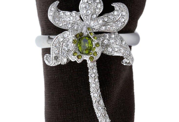 S/4 Orchid Napkin Rings w/ Swarovski