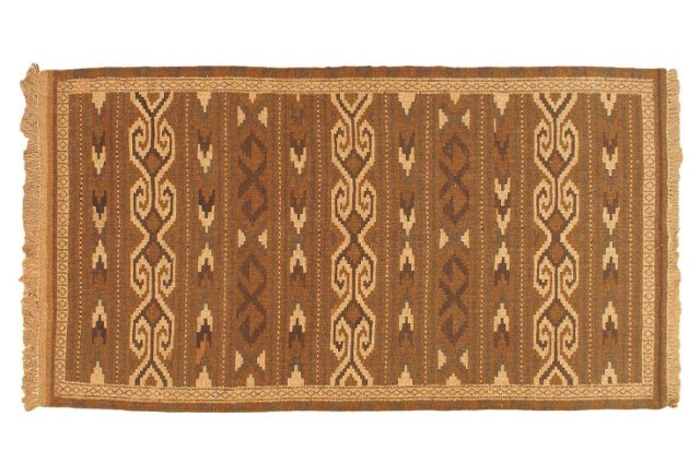 "3'4""x6'3"" Shirvan Kilim Rug, Brown/Camel"