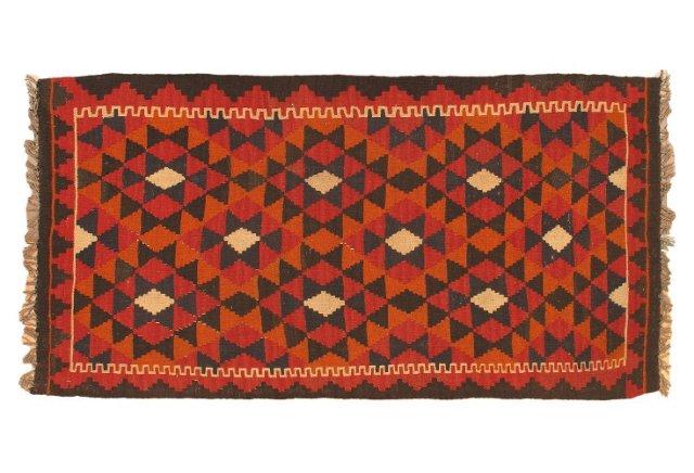 """3'2""""x6' Shirvan Kilim Rug, Red/Multi"""