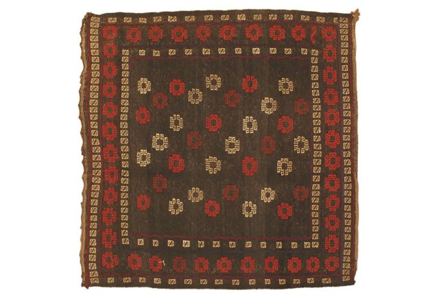 "4'4""x4'4"" Shirvan Kilim Rug, Brown/Red"