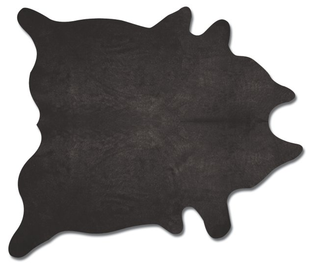 6'x7' Daisy Hide Rug, Black