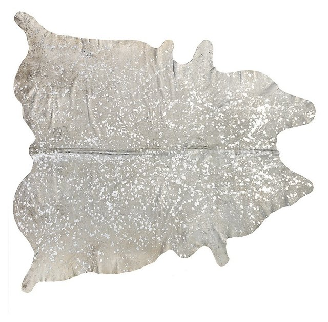6'x7' Zephyr Hide Rug, Natural/Silver