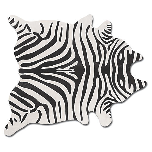6'x7' Zebra Print Hide, Black/Gray