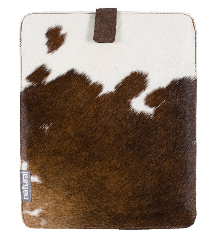 Cowhide iPad Case, Brown & White