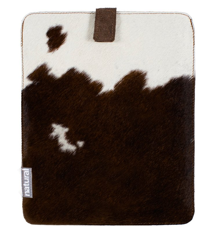 iPad Cowhide Case, Chocolate/White