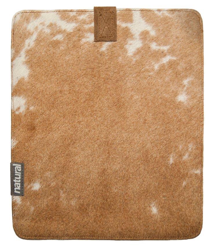 Cowhide iPad Case, Tan & White