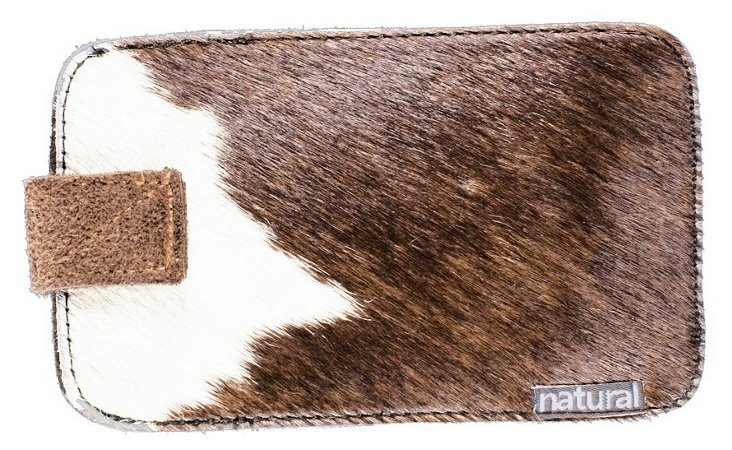 iPhone Cowhide Case, Chocolate/White