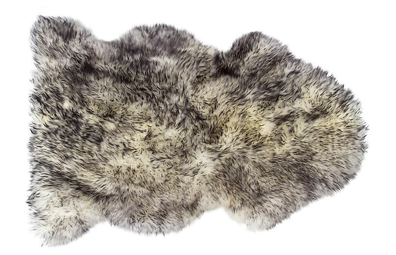 Sheepskin Rug, Gradient Gray