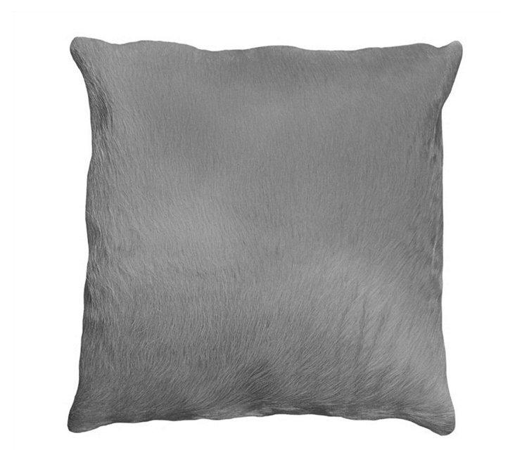 Torino 18x18 Hide Pillow, Gray